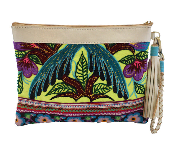 Wabags Handbags Artisan Olivia Genuine Leather Wristlet Clutch in Yellow front of bag at Lufli Boutique