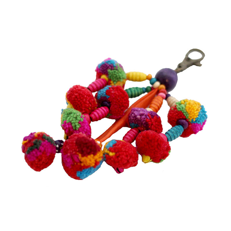 Wabags Artisan Wild Multicolor Pom Pom Keychain Charm at Lufli Boutique