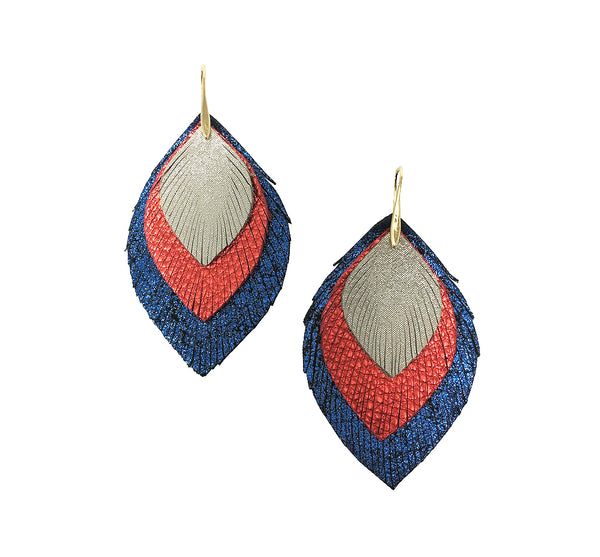 3 Layer Leather Earrings - White Red Blue