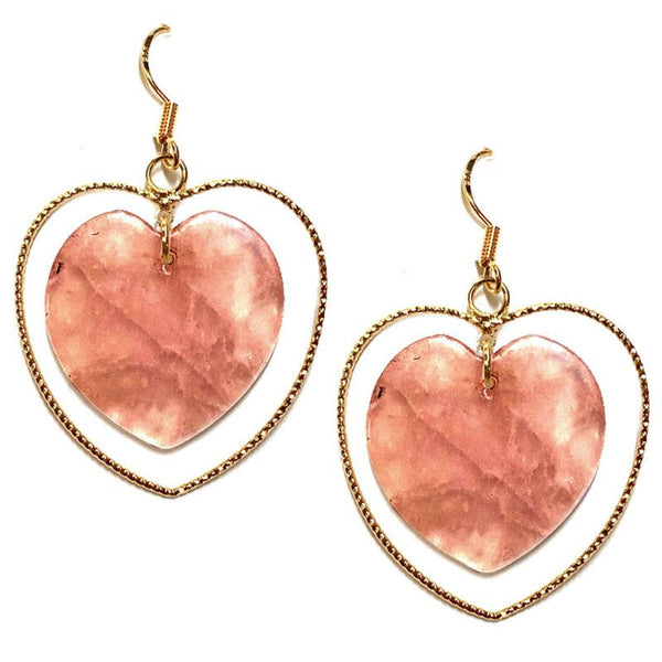 Whitney Natural Stone Heart Earrings