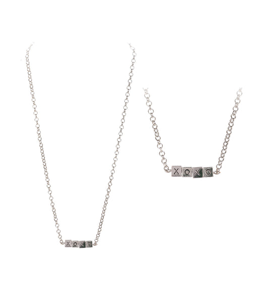 XOXO Block Letter Necklace - Rhodium Silver