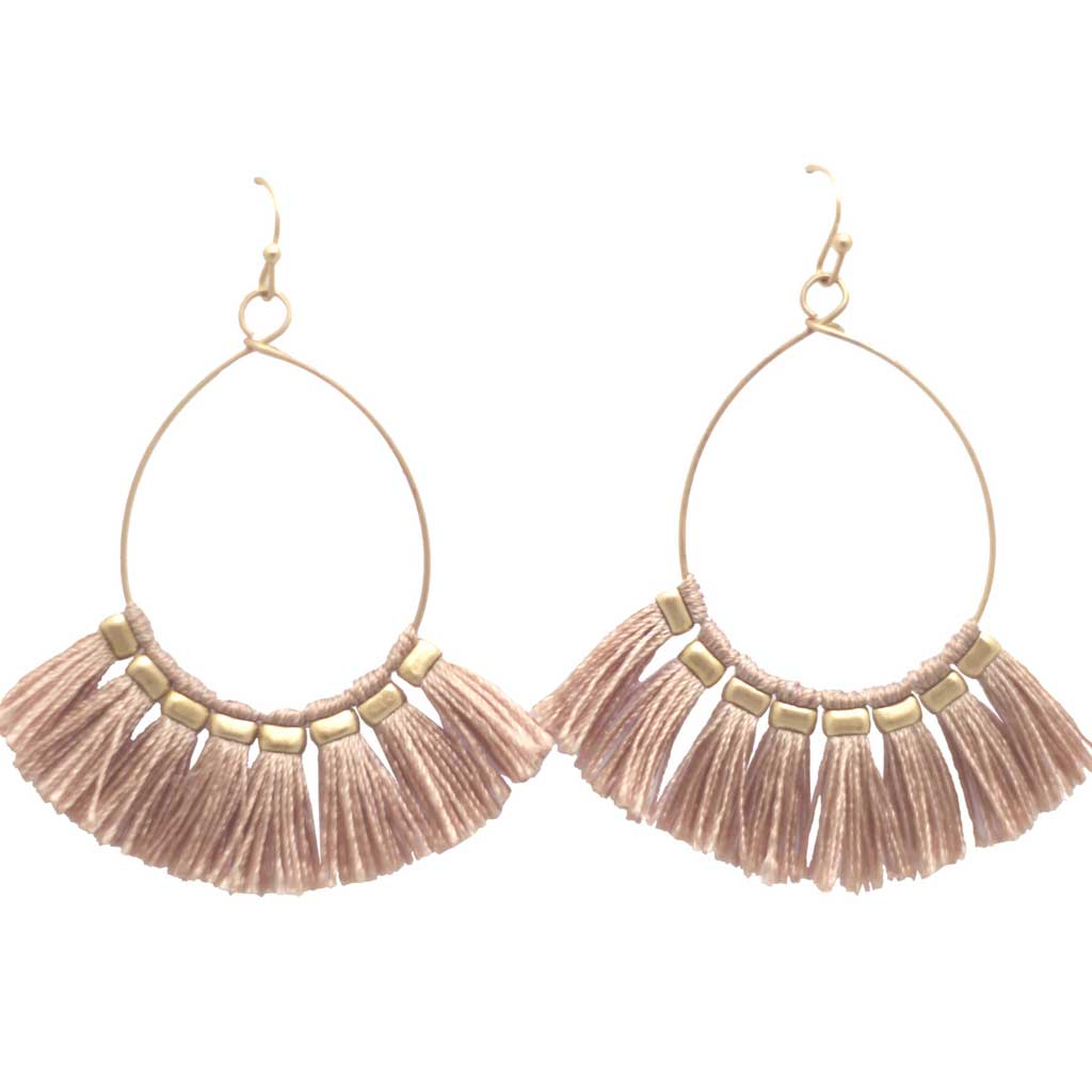 Zelda Fan Tassel Drop Earrings in Blush Pink at Lufli Boutique