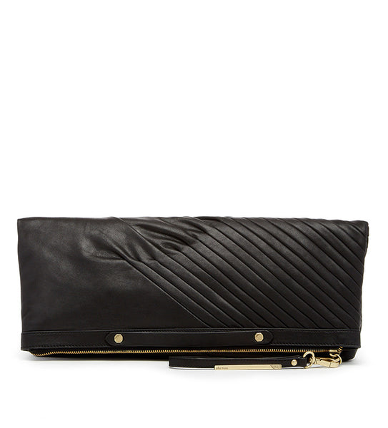 Ella Moss Daydreamer Large Genuine Leather Clutch Wristlet Front in Black