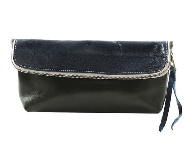 Fredd and Basha Color block leather clutch teal green - Lufli Boutique | Lufli.com