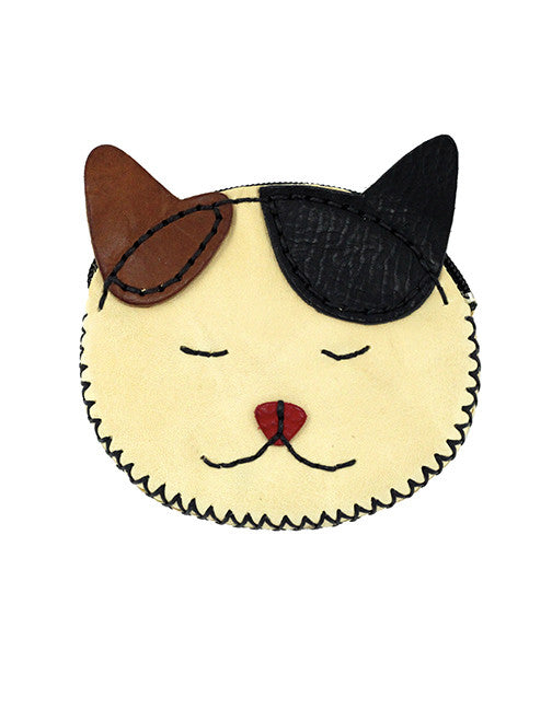 Fredd and Basha Handmade Smiling Cat Leather Coin Wallet