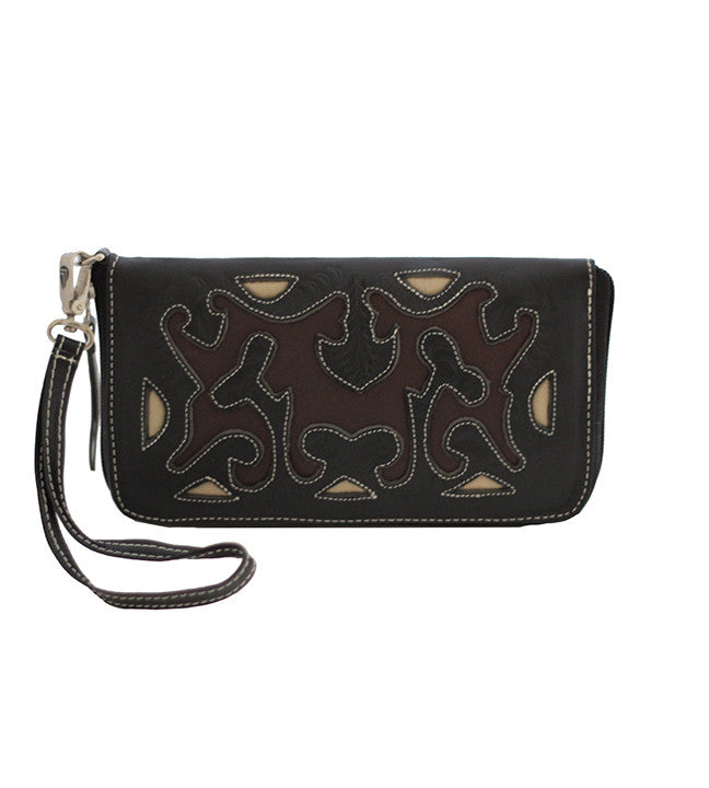 Leaders in Leather Scroll Cutout Zip Wallet Black Brown Beige