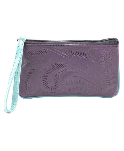 Leaders in Leather Small Tooled Wristlet - Purple