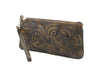Leaders in Leather Vaquetta Tooled Wristlet in Yellow Side View | Lufli Boutique