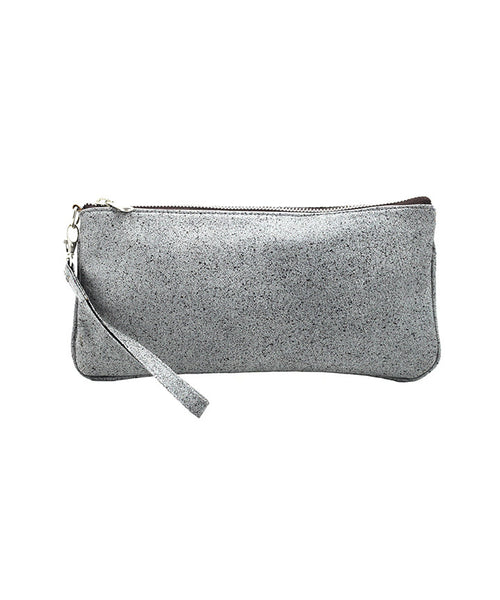 Leaders in Leather Vintage Collection Wristlet in Antique Grey front of wristlet