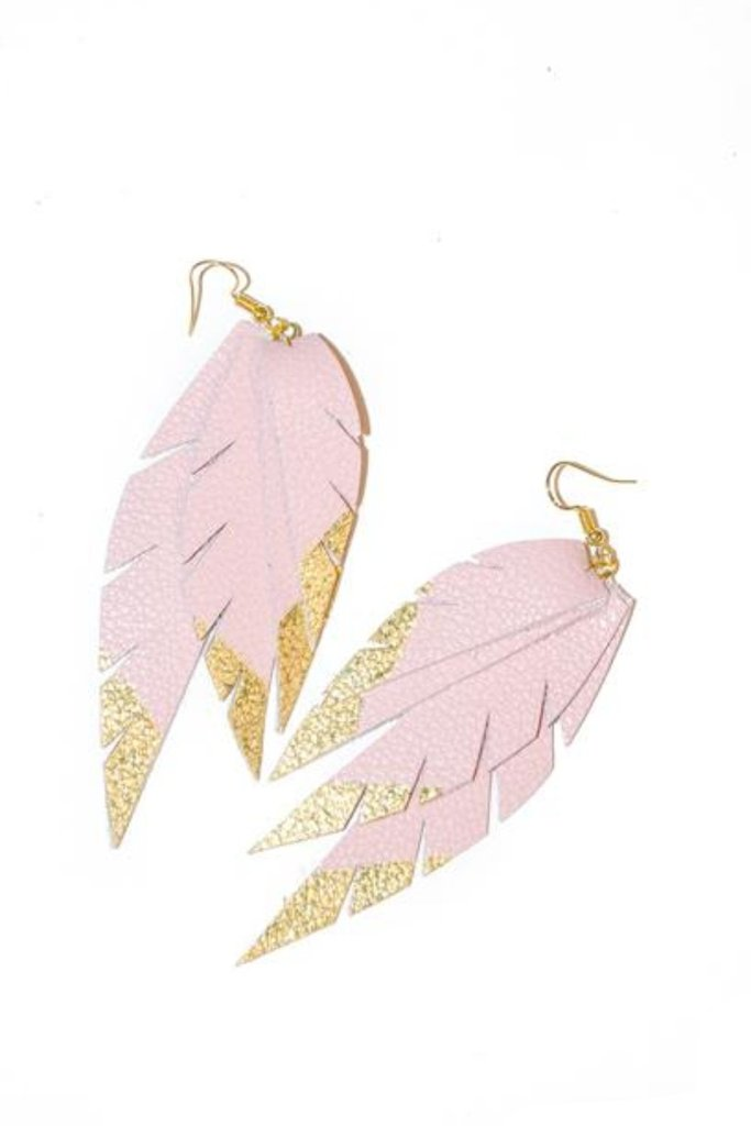 Layered Leather Earring- Pink/ Gold Dipped