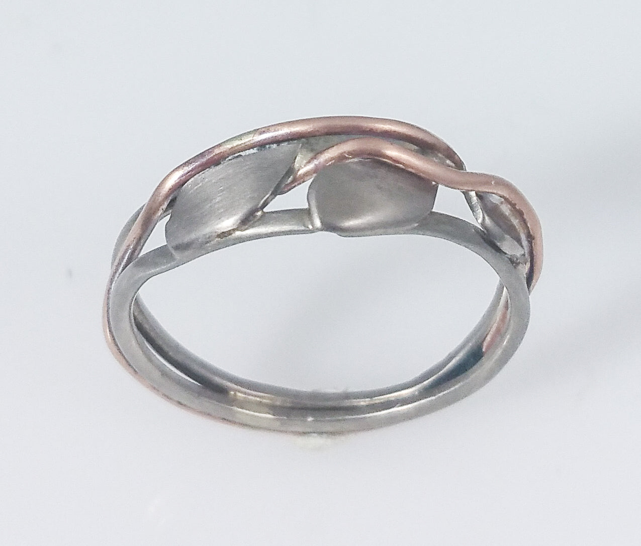 white and rose gold, curved band