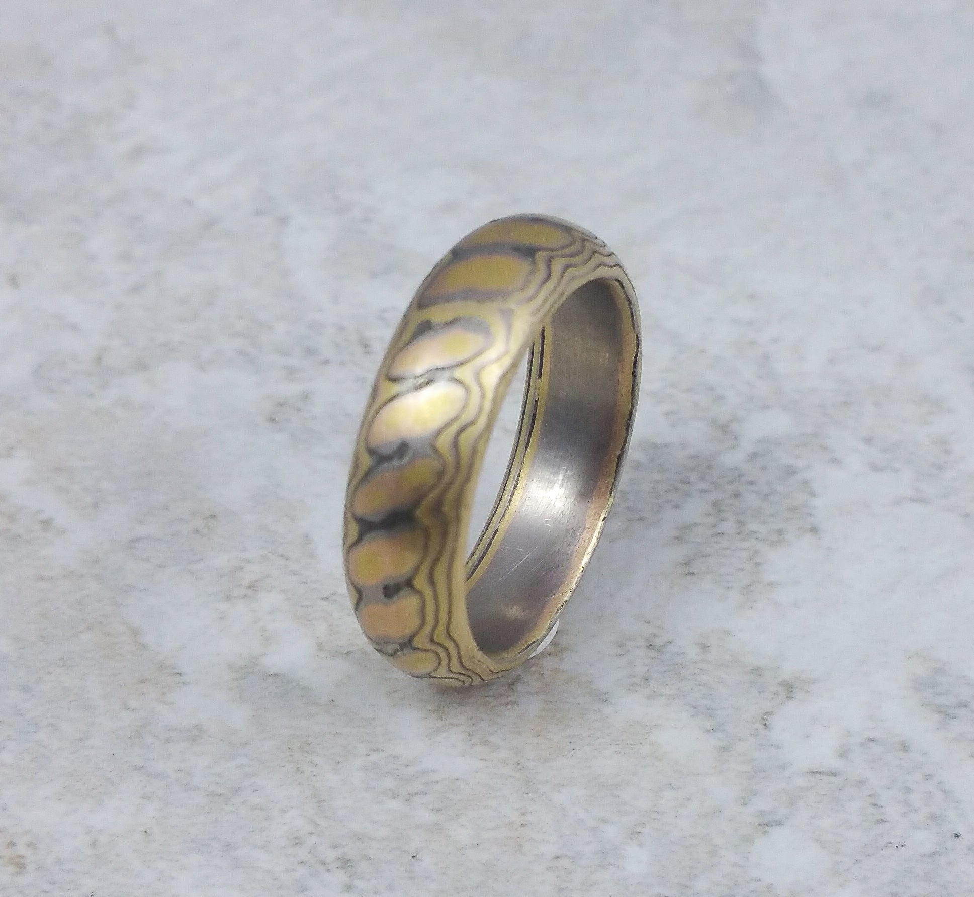 by wedding blue band johan meteorite titanium rings mokume ring with gane collections jewelry