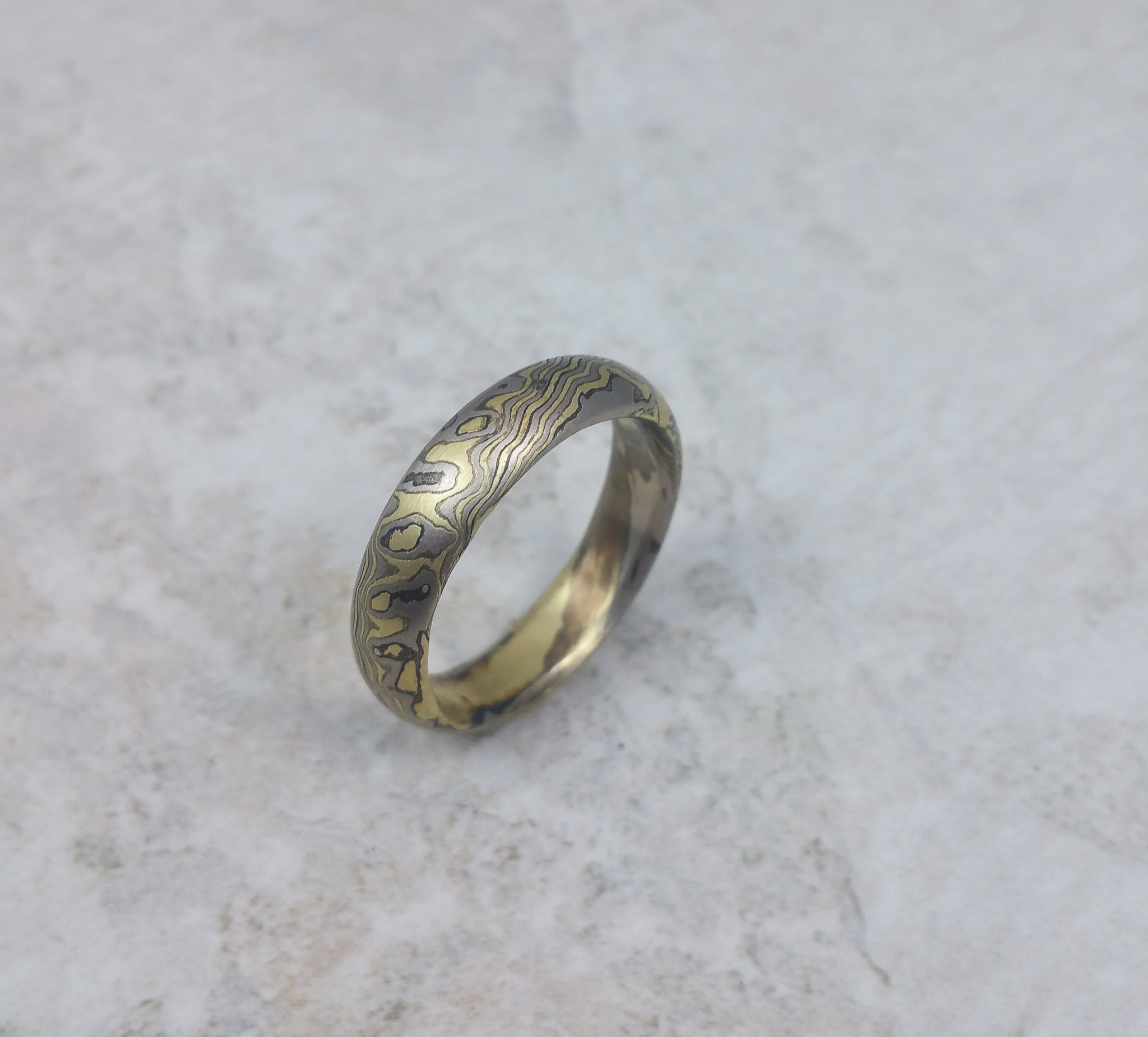 Mokume gane wedding band