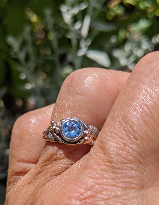 Bezel set Blue Topaz in White and Rose gold