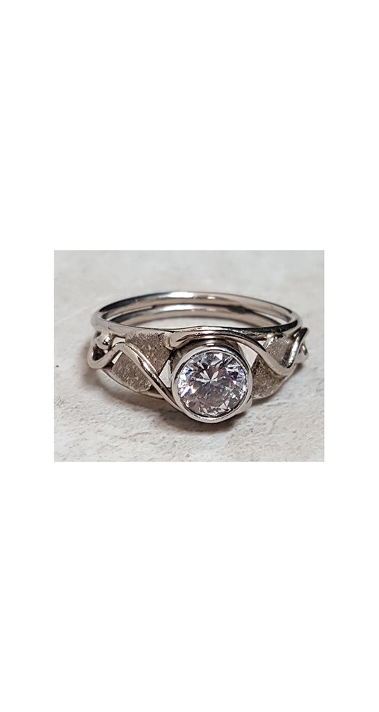 Diamond Ring, Bezel Set in White Gold