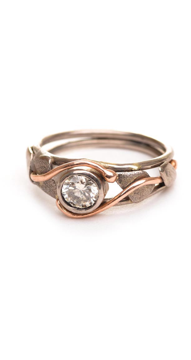 Champagne diamond in white and rose gold