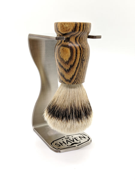 exotic bocote wood silvertip badger hair shaving brush on stainless steel stand