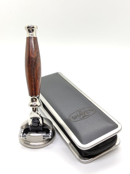 wood cartridge mach3 compatible razor with stainless steel stand and travel case