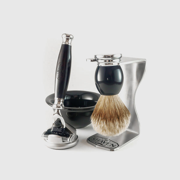 full shaving gift set kit black chrome silvertip brush razor stand stainless steel