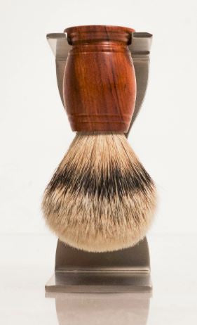 wood silvertip badger hair brush on stainless steel heavy duty brush stand