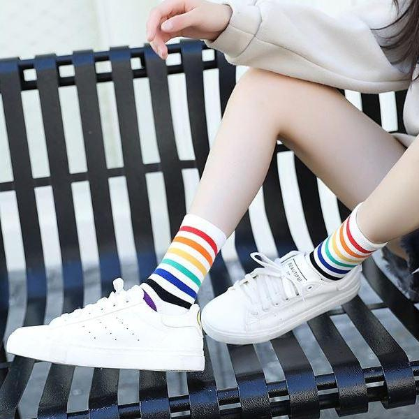 Striped Rainbow Socks