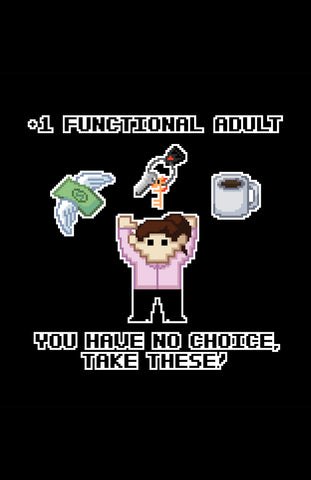 "+1 Functional Adult (Female) 11"" x 17"" Print (Black)"