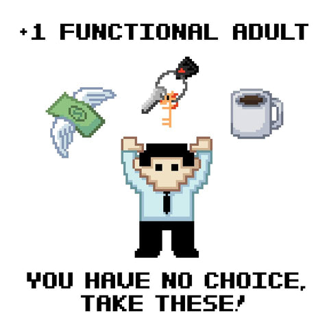 "+1 Functional Adult (Male) 11"" x 17"" Print (White)"