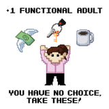 "+1 Functional Adult (Female) 11"" x 17"" Print (White)"