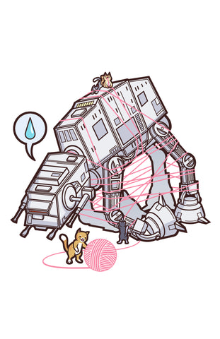 "Cats vs. AT-AT 11"" x 17"" Print (White)"
