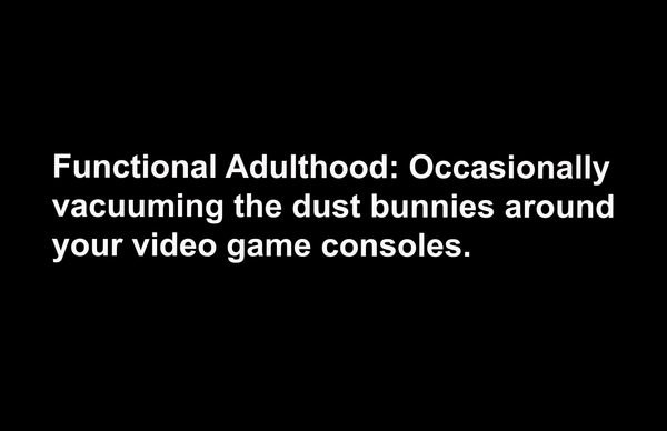 "Functional Adulthood, Dust Bunnies, and Video Game Consoles 11"" x 17"" Print"
