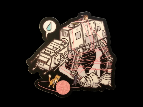 "CATS VS. AT-AT VINYL DECAL (4"")"