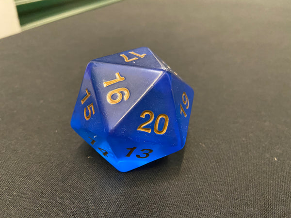Large Translucent D20 Dice (Blue)