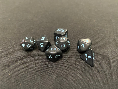 Koplow Opaque Black/Blue Ink 7-Piece Mini-Dice Set
