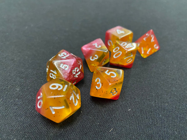 Kaplow Yellow Rose 7-Piece Dice Set