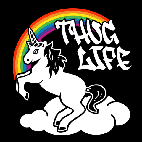 Thug Life Rainbow Unicorn Racerback Tank Top (Black)