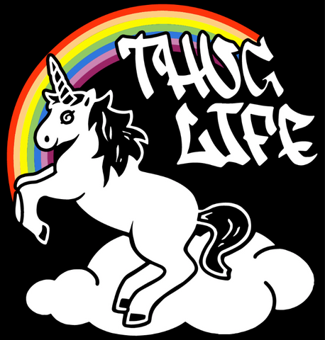 Thug Life Rainbow Unicorn Muscle Tee (Black)