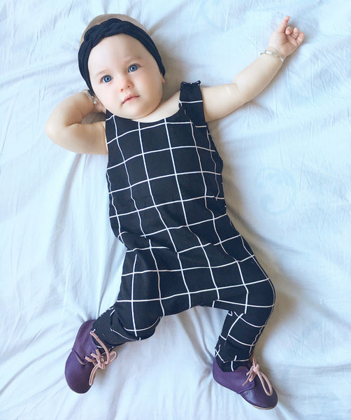 Black Grid Romper