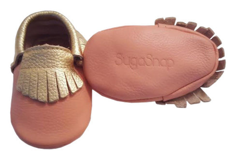 Peach And Gold Moccasins