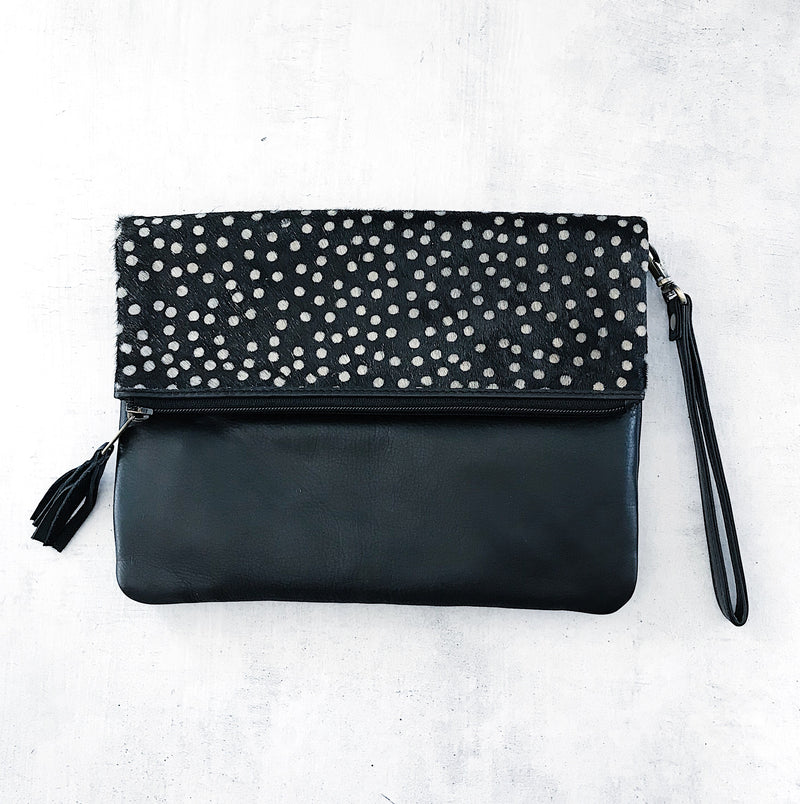LUXE BLACK SPOT FOLD OVER BAG