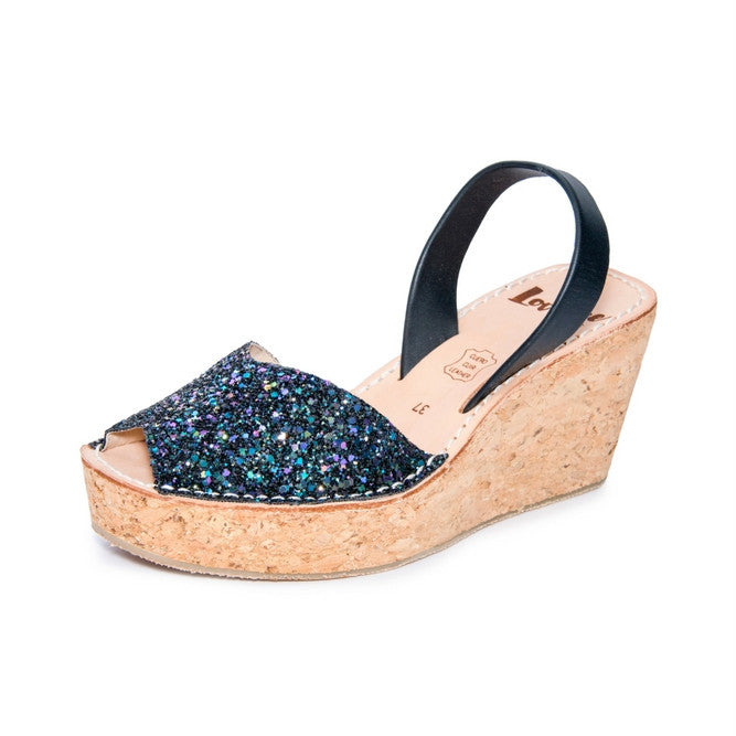 MULTI-BLACK CORK GLITTER WEDGE - SIZE 38
