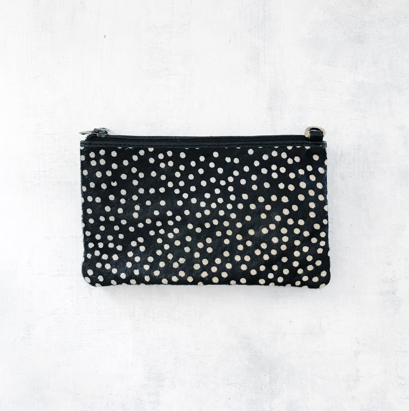 LUXE BLACK SPOT PONY HAIR CROSSBODY BAG