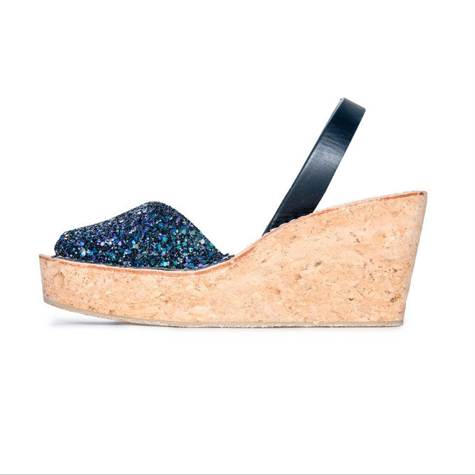 LOVELEE MULTI-BLACK CORK GLITTER WEDGE