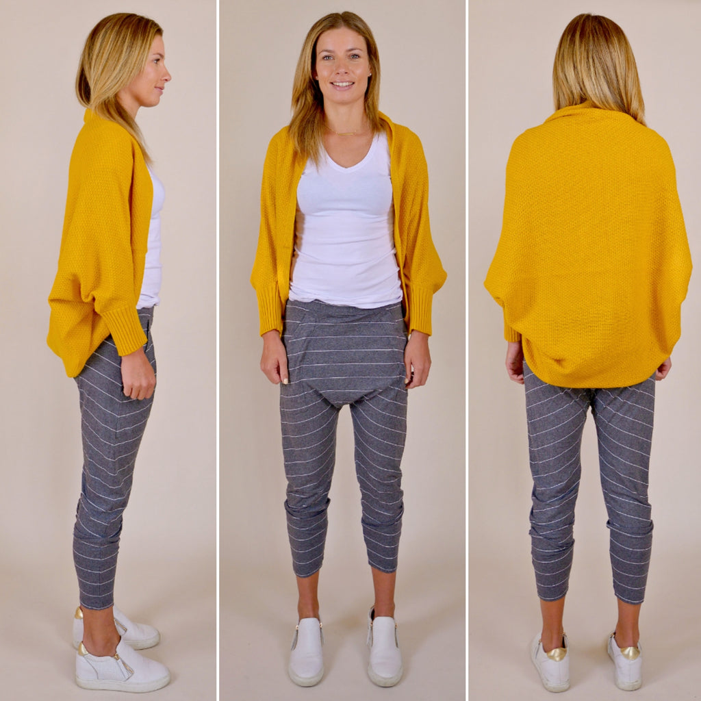 The All Rounder Cardigan Mustard | Hello Friday