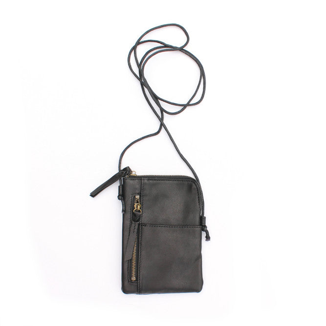 Black Leather Cross over bag