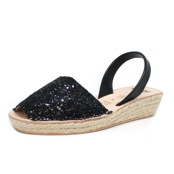 Black Glitter Mini Rope Wedge | Lovelee Soles