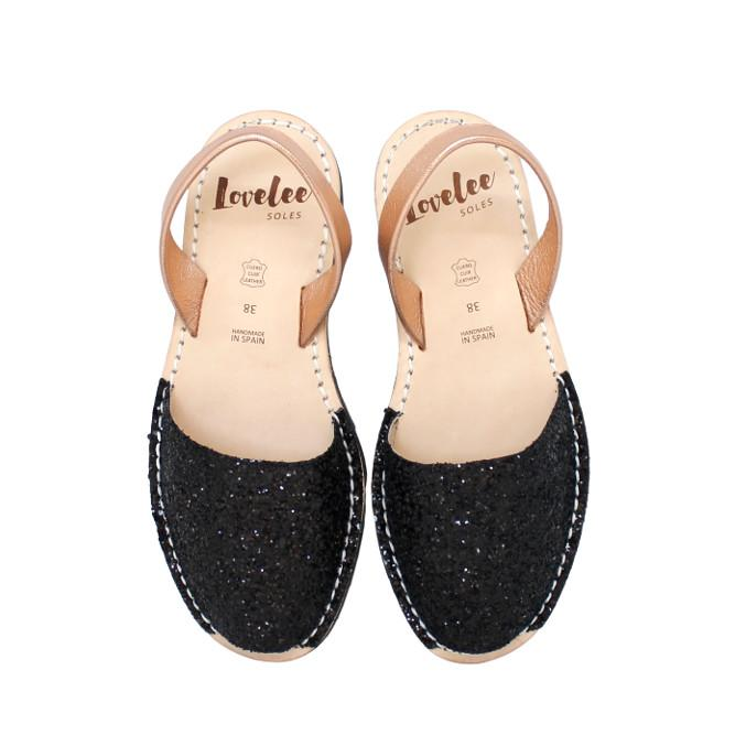 Black Glitter with Rose Gold | Lovelee Soles