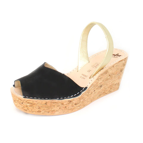 Black & Gold Cork Wedge | Lovelee Soles