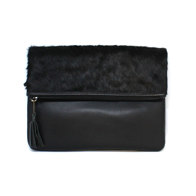 Black Fold Over Bag