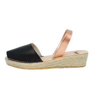 Black & Rose Gold Mini Rope Espadrille Wedge | Lovelee Soles