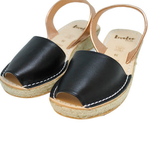 BLACK & ROSE GOLD MINI ESPADRILLE WEDGE - Last pairs size 35 & 37